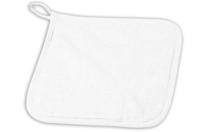 Manique de cuisine en coton blanc surpiqué - Coton, lin - 10doigts.fr