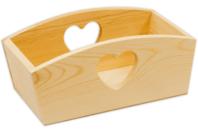 Corbeille rectangulaire en bois découpe cœur - Corbeilles et paniers - 10doigts.fr