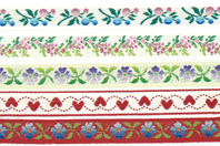 Rubans brodés en polyester - COEURS ET FLEURS - Rubans - 10doigts.fr