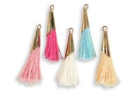 Pompons colorés avec embout métal doré - 5 pièces - Perles intercalaires & charm's - 10doigts.fr