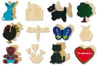 Set de 12 motifs assortis, en bois naturel - Motifs brut - 10doigts.fr