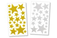 Stickers étoiles en caoutchouc mousse pailleté - Stickers 3D en caoutchouc - 10doigts.fr