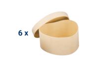 Set de 6 boîtes coeurs en bois