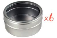 Boites rondes en métal avec couvercle transparent - Lot de 6 - Métal - 10doigts.fr