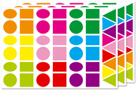 Maxi gommettes géométriques, formes assorties - 3 planches - Toutes les gommettes géométriques - 10doigts.fr