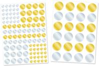 Gommettes rondes métallisées or et argent - 2 planches - Gommettes Rondes - 10doigts.fr