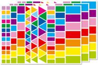 Gommettes géométriques, couleurs vives - 3 planches - Gommettes - 10doigts.fr