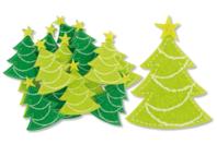 Stickers Sapins de Noël en feutrine auto-adhésive - Formes en Feutrine Autocollante - 10doigts.fr