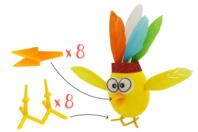 Becs et pattes de poussin à planter - Set de 8 - Décorations et accessoires de Pâques - 10doigts.fr