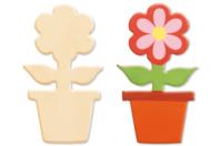 Pot de fleur en bois naturel - Motifs brut - 10doigts.fr