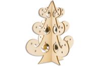 Sapin en bois ajouré et miniatures suspendues - Noël - 10doigts.fr