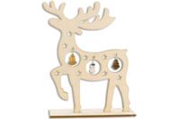 Décor Renne en bois naturel avec miniatures (sapin, cloche, bonhomme de neige...) - Noël - 10doigts.fr