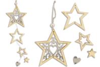 Guirlande 4 étoiles en bois + 1 miroir coeur en acrylique - Noël - 10doigts.fr