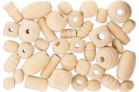 Perles formes assorties en bois naturel - Set de 110 - Perles en bois - 10doigts.fr