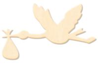 Cigogne en bois naturel - Motifs brut - 10doigts.fr