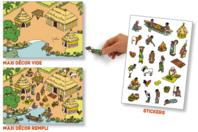 Stickers scène de vie Afrique - Gommettes stickers + maxi décor - 10doigts.fr