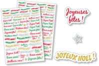 Gommettes messages de Fêtes - 2 planches - Gommettes Noël - 10doigts.fr