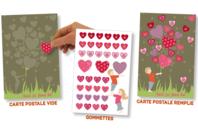 """Carte postale gommette """"Enfant cœur"""" - Carte postale + gommettes - 10doigts.fr"""