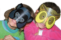 Set de 5 masques animaux à décorer avec des gommettes - Masques - 10doigts.fr