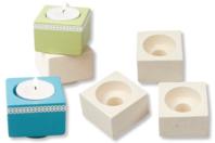 Bougeoirs en terre cuite blanche - Lot de 4 - Bougeoir - 10doigts.fr