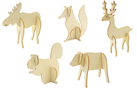 Animaux de la forêt en bois à monter - Set de 5 - Animaux en bois à décorer - 10doigts.fr