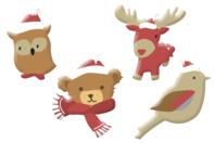 Animaux de Noël chapeautés en bois décoré - Set de 8 - Motifs peint - 10doigts.fr