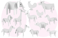 Animaux 3D en carton mousse à décorer - Set de 13 - Maquettes en papier - 10doigts.fr