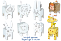 "Animaux ""Paper Toys"" à colorier  - Set de 8 - Support pré-dessiné - 10doigts.fr"
