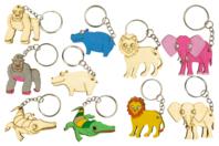 Porte-clefs en bois animaux Savane - 5 animaux  - Porte-clefs en bois - 10doigts.fr