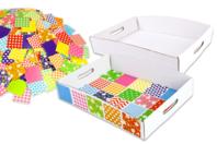Atelier mosaïques : 30 plateaux en carton blanc + 1000 mosaïques XXL - Mosaïques en papier, carton et mousse - 10doigts.fr