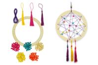 Attrape-rêves avec perles et pompons - Lot de 6 - Carillons et Mobiles - 10doigts.fr