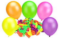 Ballons ronds, couleurs fluos - Set de 100 - Ballons, guirlandes, serpentins - 10doigts.fr