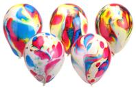 Ballons ronds, couleurs marbrées - Set de 100 - Ballons, guirlandes, serpentins - 10doigts.fr