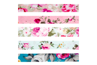 Biais coton Roses - Set de 5 - Rubans, cordons - 10doigts.fr