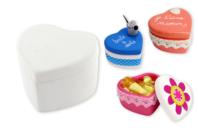 Boîte coeur en terre cuite blanche - Supports en Céramique et Porcelaine - 10doigts.fr