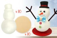 Bonhomme de neige + socle - Lot de 10 - Kits activités Noël - 10doigts.fr