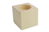 Bougeoir cubique en bois, pour bougie chauffe plat - Bougeoirs, photophores - 10doigts.fr