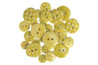 Boutons à motifs camaïeu jaune - Set de 28 - Boutons - 10doigts.fr