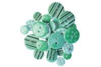 Boutons à motifs camaïeu vert - Set de 28 - Boutons - 10doigts.fr