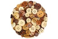 Boutons ronds en bois naturel verni - 300 pièces - Boutons - 10doigts.fr