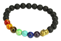 Kit pour bracelet Chakras noir - 26 perles - Perles Lithothérapie - 10doigts.fr