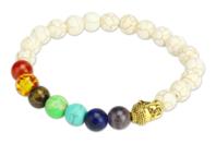 Kit pour bracelet Chakras blanc - 26 perles - Perles Lithothérapie - 10doigts.fr