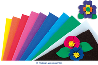 Feuilles de mousse 30 x 45 cm - 10 couleurs - Caoutchouc souple - 10doigts.fr
