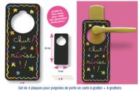 Plaques poignée de porte en carte à gratter  + accessoires - 4 pcs - Cartes à gratter - 10doigts.fr