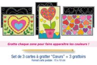 "Cartes à gratter ""Coeurs"" + grattoirs - 3 cartes - Cartes à gratter - 10doigts.fr"