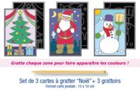 """Cartes à gratter """"Noël"""" + grattoirs - 3 pièces - Cartes à gratter - 10doigts.fr"""
