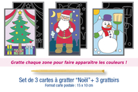 "Cartes à gratter ""Noël"" + grattoirs - 3 cartes - Carte à gratter - 10doigts.fr"