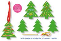 Set de 3 sapins de Noël en carte à gratter + 3 grattoirs + 3 rubans satin - Cartes à gratter - 10doigts.fr