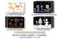 Cartes à gratter assorties + grattoirs - 4 pièces - Cartes à gratter - 10doigts.fr