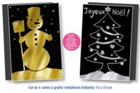 Cartes à gratter face noire fond métallisé + grattoirs - 4 pièces - Cartes à gratter - 10doigts.fr